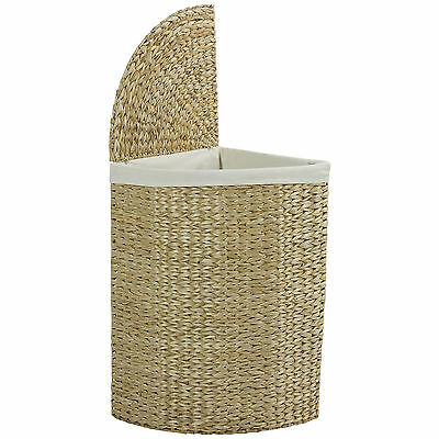 Hartleys Corner Laundry Basket Hamper Compact Wicker Large Washing Bin Clothes