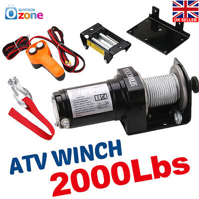 12V Volt Recovery Boat Trailer Truck Plow 2000 Lb Atv Winch Electric  New