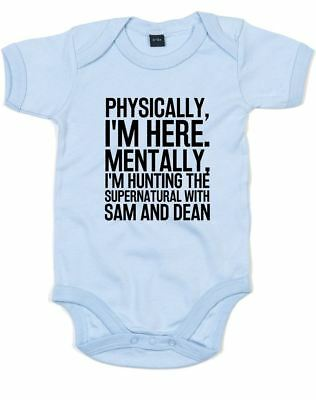 Hunting the Supernatural with Sam & Dean Slogan Printed Cotton Baby Grows Gift