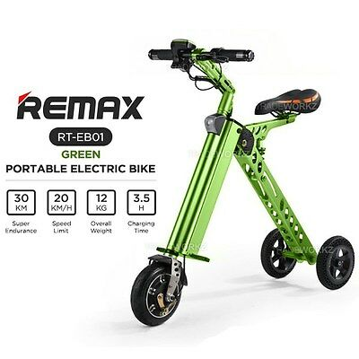 "REMAX RT-EB01 Green 8"" Mini Travel Smart Portable Bicycle Folding Electric Bike"