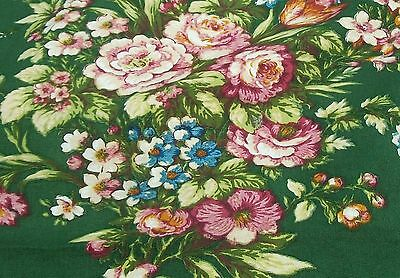 Vintage French Romanex Fabric Panel Green floral cotton