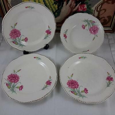Woods Ivory Ware Pink Carnations Replacements 5 Side Plates 1 Dessert Bowl