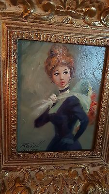 "Antique Painting Signed ""paris 1907?"" Noblewoman Elaborate Frame Carved"