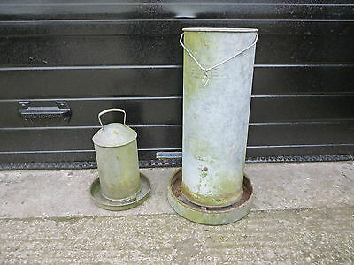 Pair of Vintage Galvanized Poultry Feeders Perfect for Garden Display