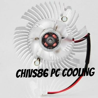 2 Pin 80mm 8cm Round Silver Tone Graphics VGA Video Card Cooling Fan & Heatsink