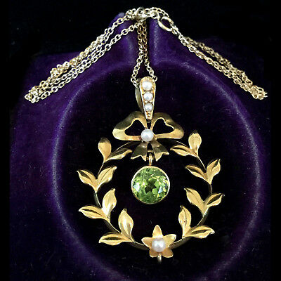Antique, Belle Epoque 15ct Gold Peridot & Pearl Lavalier, pendant on 9ct Chain