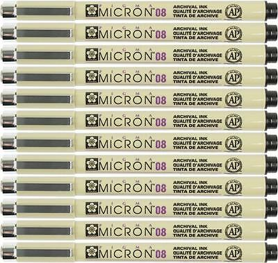 Sakura Pigma Micron Pen - 08 (0.50mm) Waterproof Archival BLACK - 12PC
