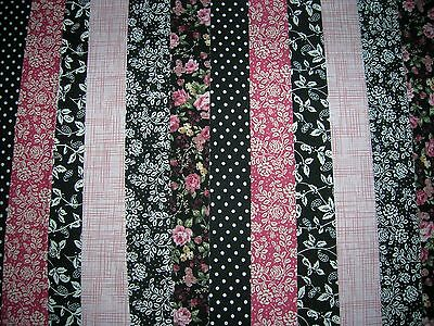 """12 Jelly Roll Strips  Black & Pink 44"""" X 2.5""""  100% Cotton Patchwork/quilt Pab"""