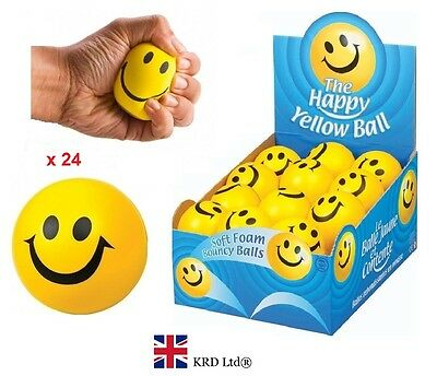 24 x BALLS FULL BOX Happy Yellow Foam Smiley Face Bouncy Stress Relief UK