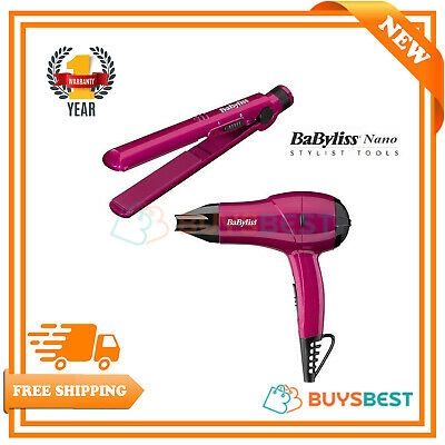 BaByliss Pro Nano Portable Travel Hair Dryer & Hair Straightener Pink Gift Set