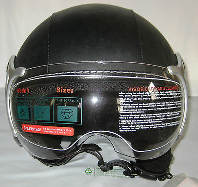 Open Faced Motorcycle, Scooter Crash Helmet, Black Leather. Size Small