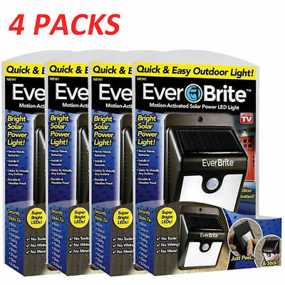 4 PACK Ever Brite Led Outdoor Light-AS ON TV Everbrite Solar Powered & Wireless