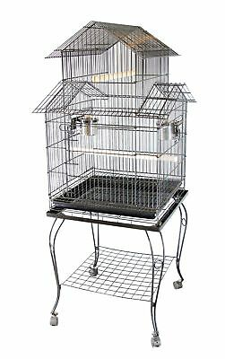 FoxHunter Large Metal Bird Cage Stand Aviary Parrot Budgie Canary Cockatiel 02