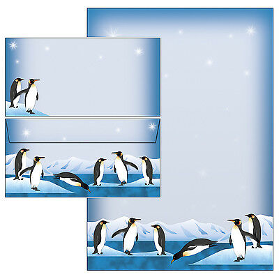 PInguine Set Motivpapier Briefpapier 20 Blatt A4 +10 Kuverts Pinguin Winter Eis