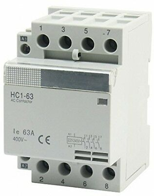 35mm DIN Rail Mount AC400V 63A 4Pole Household Modular AC Contactor
