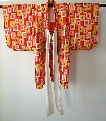 Vintage authentic handmade Japanese kimono for baby girl toddler, cotton (H515)