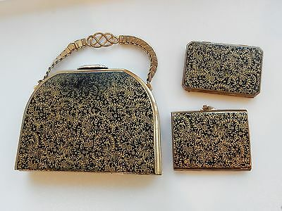 Vintage 1950s Stratton Gold Handbag Mirror Compact & Cigarette Case Patented