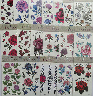 Fashion 3D Roses Butterfly flowers Tattoo Sticker Temporary Body Art Waterproof