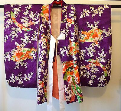 Authentic handmade Japanese silk furisode kimono for baby girls toddlers (H516)