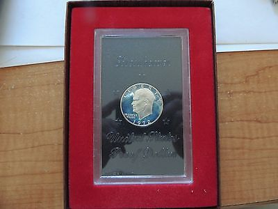 1972-S United States Eisenhower Silver Proof Dollar In Lucite Case Lot A