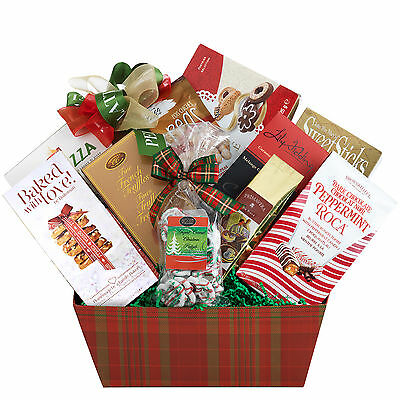 Christmas Holiday Gift Basket With Truffles Coffee Tea Biscuits Wafers