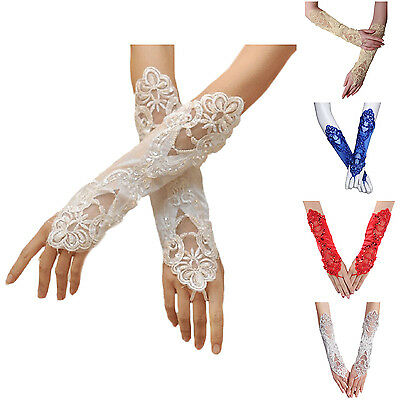 Bride Wedding Party Dress Fingerless Pearl Lace Satin Bridal Gloves Costume BF