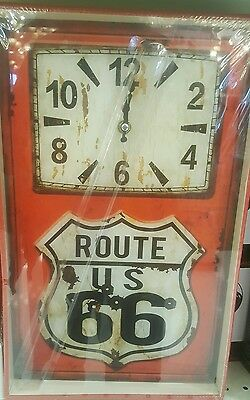 Highway 66 / Route 66 Glass Wall Clock