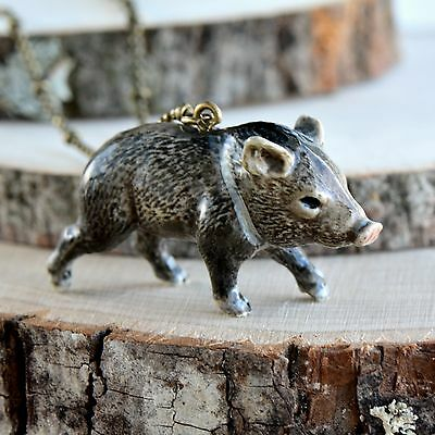 Hand Painted Porcelain Peccary Pig Necklace Antique Bronze Chain Ceramic Animal