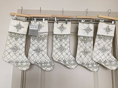 ONE Kim Seybert IVORY & Silver Christmas Stocking Beaded  New w/tags 5 available
