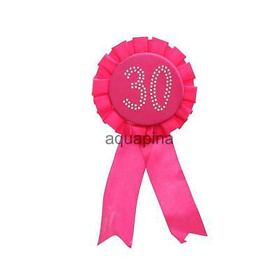 PINK 30th Birthday ROSETTE Diamante Badge Rosette Gift present Accessory
