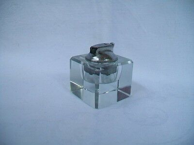 """VINTAGE 2"""" x 2"""" x 2½"""" glass cube lighter - empty - Hard to Find"""
