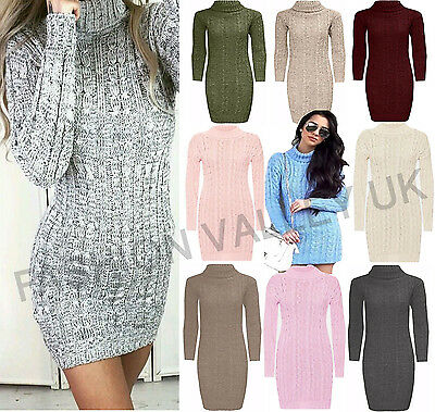 Womens Ladies Long Sleeve Cowl Polo Neck Cable Knitted Jumper Mimi Dress Top