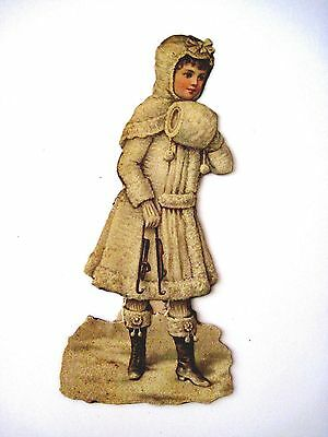 Vintage Victorian Christmas Die Cut Scrap of Girl Carrying Antique Ice Skates *