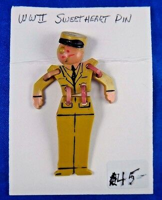 Original Vtg WWII WW2 Era Sweetheart Articulated Army Soldier Pin Pinback Button