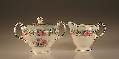 """Foley China """"Cornflower""""  Cream and Covered Sugar Set, Made In England"""