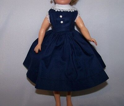 """Vintage Vogue Jill  Navy Blue Dress With White Collar Tagged Fits 10 1/2"""" Doll"""