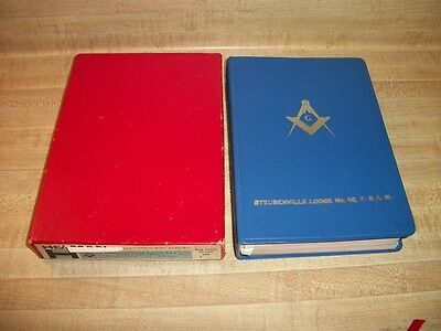 Vintage Holman Triple Illustrated Masonic Bible The Great Light In Masonry Box