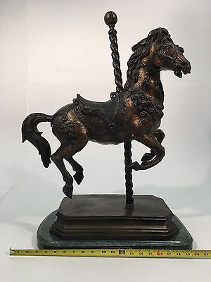 "Vintage Bronze Carousel Horse Sculpture On Marble Base By ""carmel"""