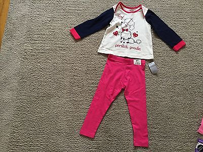 SET Girls Long Sleeve Top AND LEGGINGS AGE 3-4 NEW