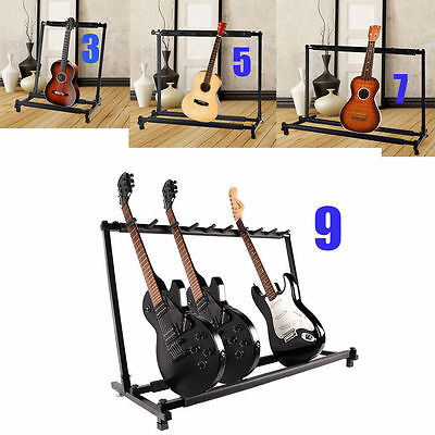 3/5/7/9 Triple/Five/Seven Multiple Guitar Bass Stand Holder Stage Folding Rack @