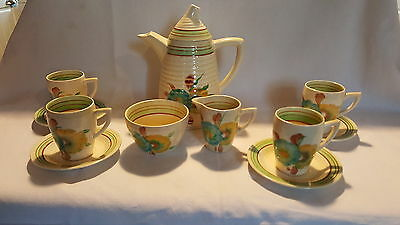 Clarice Cliff vintage Art Deco Antique Honeydew  design coffee pot set / teaset