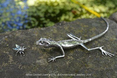 Sterling Silver Lizard Ornament with Fly