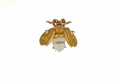 Antique Vintage Brooch 14k Yellow Gold Bumble Bee Baroque Pearl W/ Ruby Eyes Pin