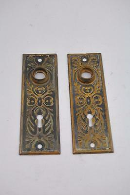 Antique Pair Victorian Eastlake Stamped Doorplates Copper And Black Finish
