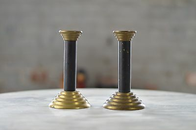 Art Deco Brass Candlesticks Candle Vintage