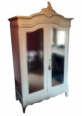 Antique French Amoire With Bevelled Mirrored Glass Doors. See Full Details!