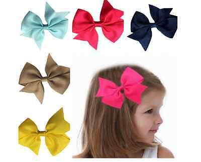 "4"" Inch Grosgrain Ribbon Bow Hair Clip Pin Aligator Clips Flower Baby/girl Uk"