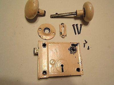 Antique White Painted Tan Porcelain Door Knob Set,Lockset,- No Key