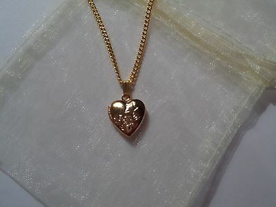 Children's Heart Locket Gold Plated 16 inch Necklace Jewellery with gift bag