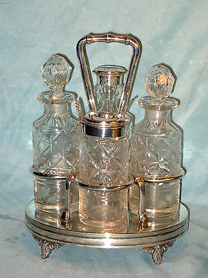 Old Cut Glass 4 Peice Military? Condiment Set + Silver Spoon On Silver Plated St